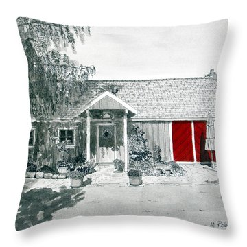 Retzlaff Winery With Red Door No. 2 Throw Pillow