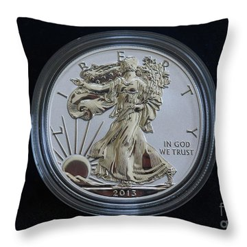 Throw Pillow featuring the digital art Reverse Proof Silver Eagle Dollar Coin by Randy Steele