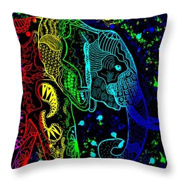 Rainbow Zentangle Elephant With Black Background Throw Pillow