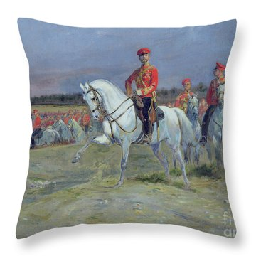 Reviewing The Troops Throw Pillow by Jean Baptiste Edouard Detaille