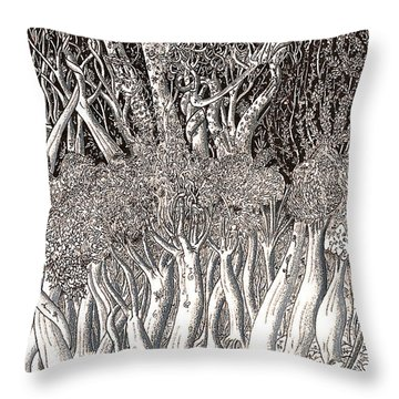 Revolution In Shitaki Forest Throw Pillow by Al Goldfarb