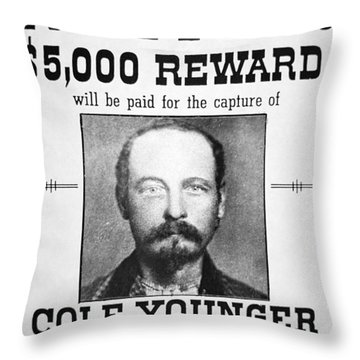 Reward Poster For Thomas Cole Younger Throw Pillow by American School