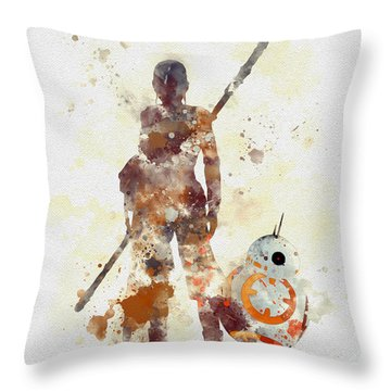 Rey And Bb8 Throw Pillow