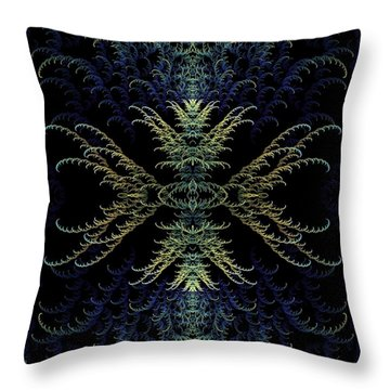 Rhapsody In Blue And Gold Throw Pillow by Lea Wiggins