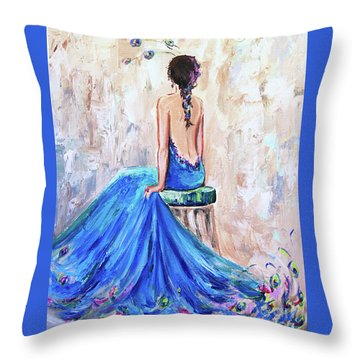 Throw Pillow featuring the painting Rhapsody In Blue by Jennifer Beaudet