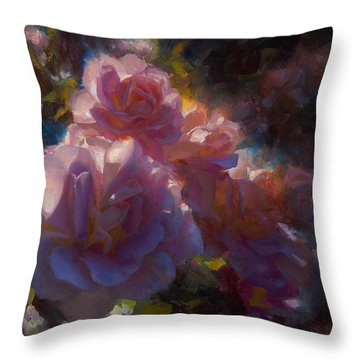 Throw Pillow featuring the painting Rhapsody Roses - Flowers In The Garden Painting by Karen Whitworth