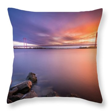 Rhine Bridge Sunset Throw Pillow