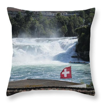 Throw Pillow featuring the photograph Rhine Falls In Switzerland by Travel Pics
