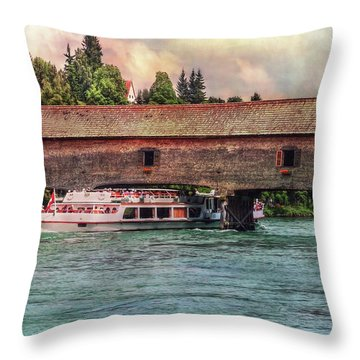 Throw Pillow featuring the photograph Rhine Shipping by Hanny Heim