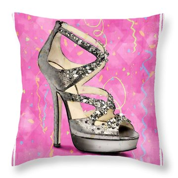 Rhinestone Party Shoe Throw Pillow by Jann Paxton