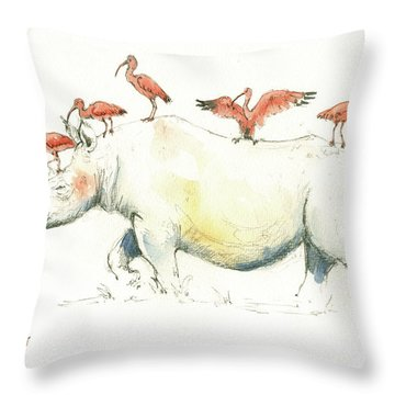 Rhino And Ibis Throw Pillow by Juan Bosco