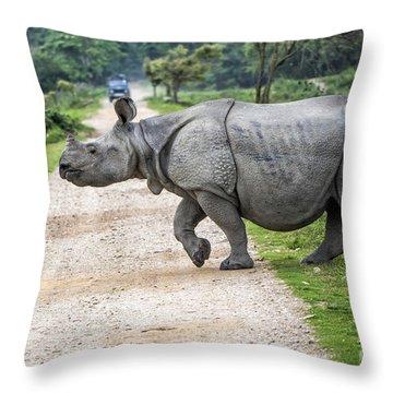 Rhino Crossing Throw Pillow by Pravine Chester