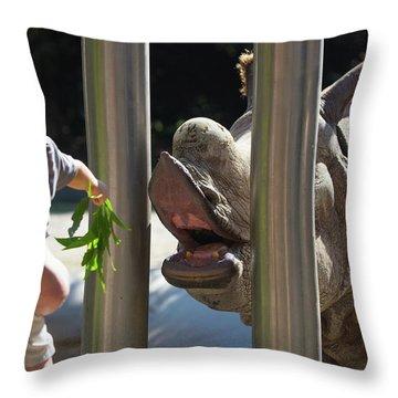 Rhino Eating Grass Throw Pillow