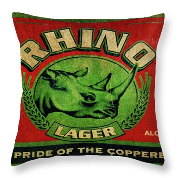 Throw Pillow featuring the digital art Rhino Lager by Greg Sharpe
