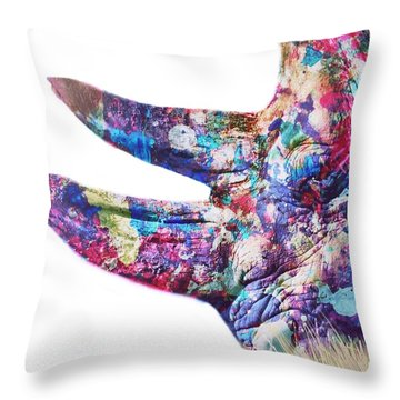Throw Pillow featuring the painting Rhino by Mark Taylor