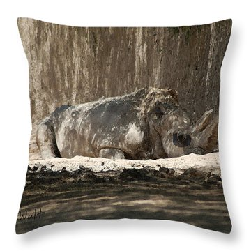 Rhino Throw Pillow by Walter Chamberlain