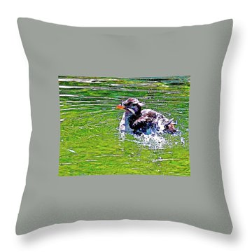 Rhinoceros Auklet In Oregon Coast Aquarium In Newport, Oregon Throw Pillow
