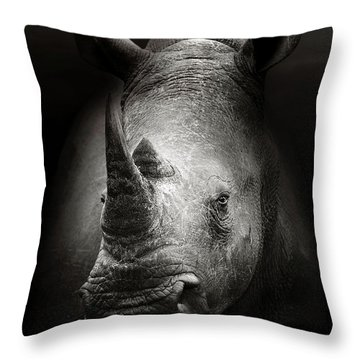 Rhinoceros Portrait Throw Pillow