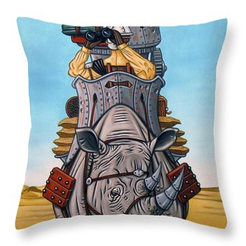 Rhinoceros Riders Throw Pillow