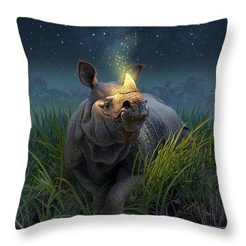 Rhinoceros Unicornis Throw Pillow