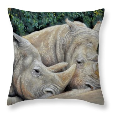 Rhinos Throw Pillow by Sam Davis Johnson