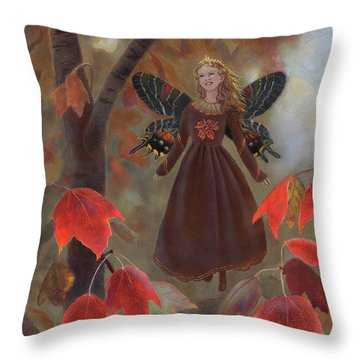 Throw Pillow featuring the painting Rhiona In The Maple Tree by Nancy Lee Moran