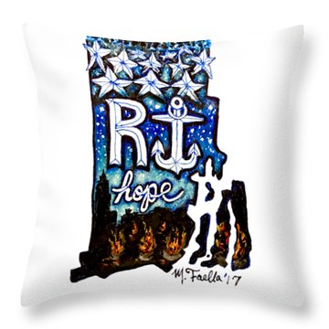 Throw Pillow featuring the painting Rhode Island, Hope by Monique Faella
