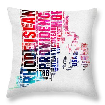 Rhode Island Watercolor Word Cloud Throw Pillow