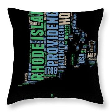 Rhode Island Word Cloud 2 Throw Pillow