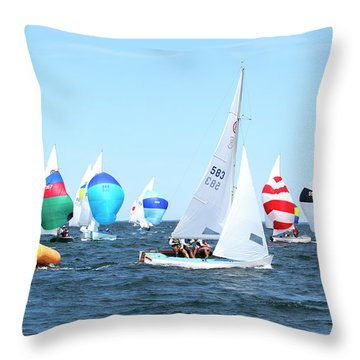 Throw Pillow featuring the photograph Rhodes Nationals Sailing Race Dennis Cape Cod by Charles Harden