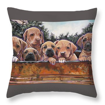 Rhodesian Ridgeback Puppies Throw Pillow by Nadi Spencer