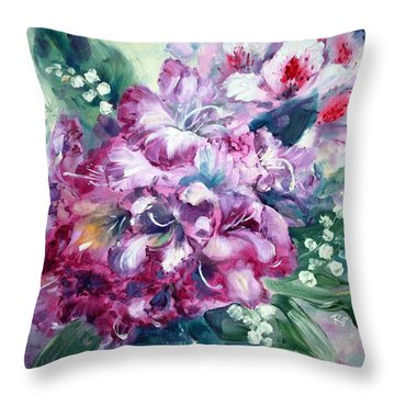 Rhododendron And Lily Of The Valley Throw Pillow