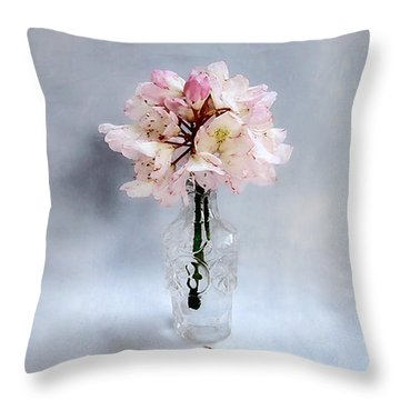 Rhododendron Bloom In A Glass Bottle Throw Pillow by Louise Kumpf