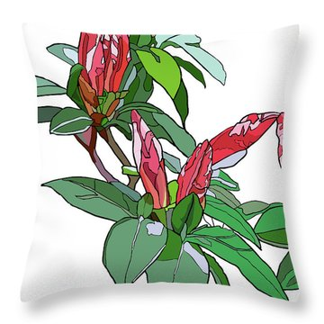 Rhododendron Buds Throw Pillow