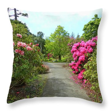 Rhododendron Gardens Throw Pillow