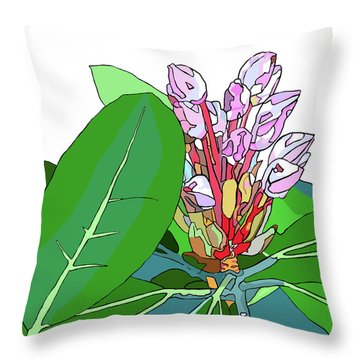 Rhododendron Graphic Throw Pillow