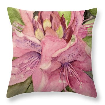 Throw Pillow featuring the painting Rhododendron  In The Garden by Carol Grimes