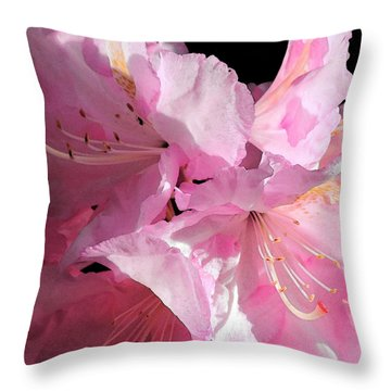 Rhododendron On Black Throw Pillow