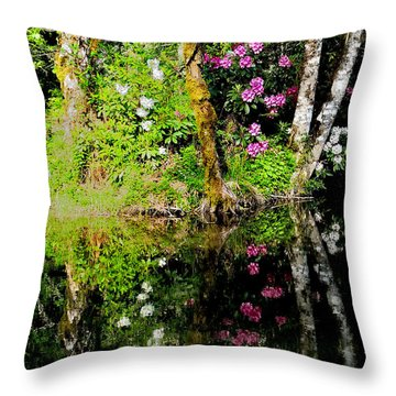 Rhododendron Reflection Throw Pillow