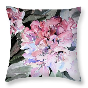 Rhododendron Rose Throw Pillow