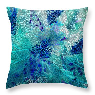 Rhododendron Turquoise Lace Throw Pillow