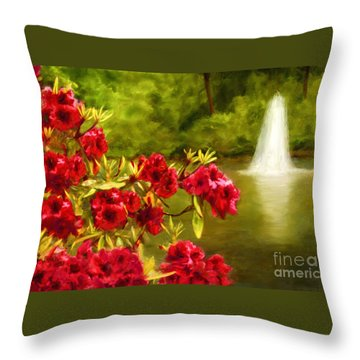 Painted Rhododendrons Fountain In Pond   Throw Pillow