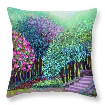Rhododendrons In The Sunken Garden Throw Pillow
