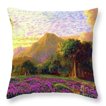 Rhododendrons, Rabbits And Radiant Memories Throw Pillow