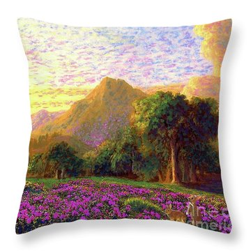 Rhododendrons, Rabbits And Radiant Memories Throw Pillow by Jane Small