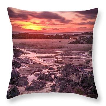 Rhosneigr Beach At Sunset Throw Pillow