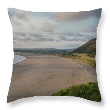 Rhossili Bay, South Wales Throw Pillow