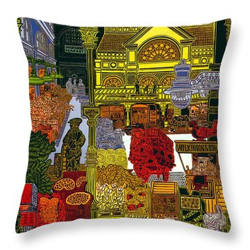Rhubarb And Roses - Underground To Covent Garden - London Underground - Retro Travel Poster Throw Pillow