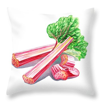 Throw Pillow featuring the painting Rhubarb Stalks by Irina Sztukowski