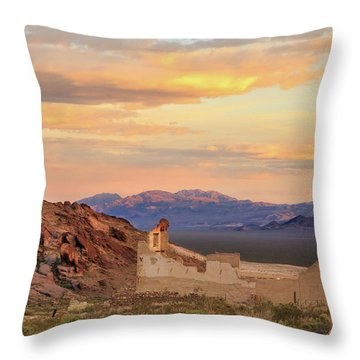 Throw Pillow featuring the photograph Rhyolite Bank At Sunset by James Eddy